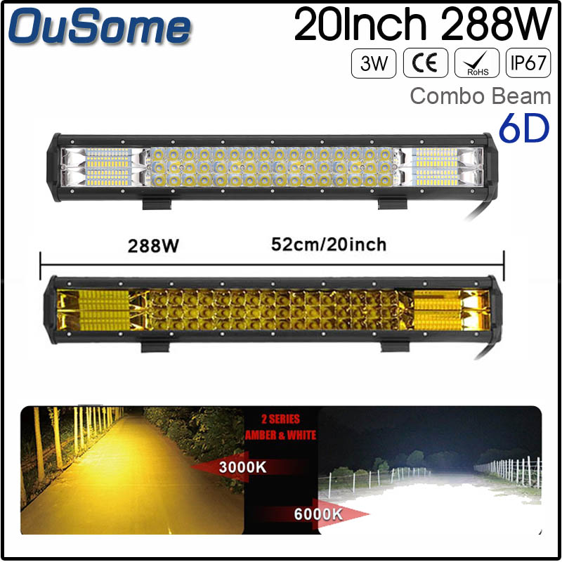 20inch 288W 6D Double Rows 4X4 car off road LED Light Bar combo Beam white amber 12v 24v LED work light bar offroad