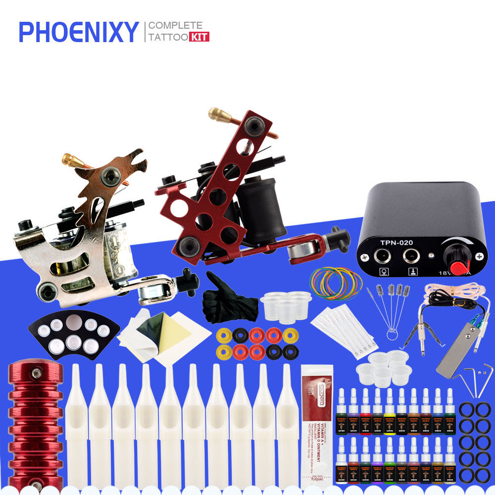 Complete Tattoo Kit Two Tattoo Machine Set 20 Colors Ink Black Pigment Power Supply Permanent Makeup Tattoo Machine Set-in Tattoo Kits from Beauty & Health on Aliexpress.com | Alibaba Group