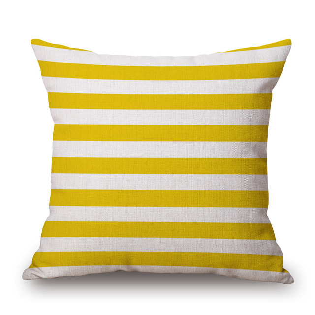 Nordic Yellow Green Geometric Printed Cushion Cover