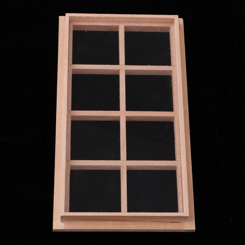 Wood Miniature 8-Pane Single Door Frame 1//12 Dollhouse DIY Decor Accessory