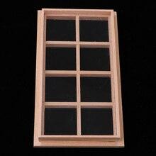 Деревянная миниатюрная 8-панели рама для дверей и окон 1/12 кукольный домик DIY Декор аксессуар Детские ролевые игры игрушка