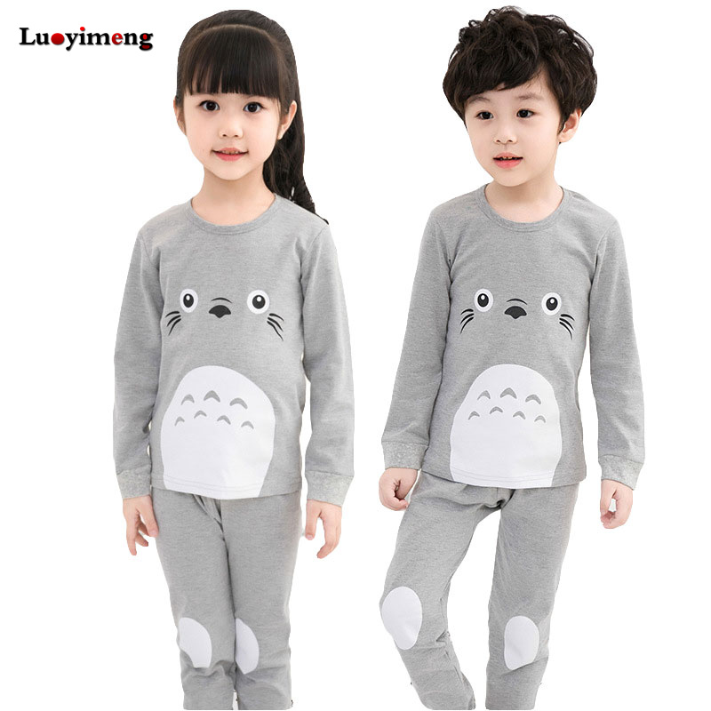 New Pyjamas Baby Boys Sleepwear Kids 100% Cotton Long Sleeve Fashion Cartoon Panda Totoro Pajamas For Girls Children Clothes Set cotton spring thomas train children clothes set long sleeve sleepwear pajamas boy sports suit blue tracksuit for 2t 7t kids
