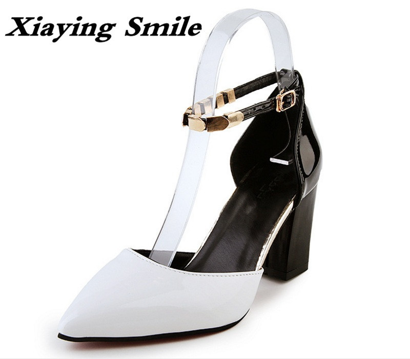 Xiaying Smile New Summer Woman Sandals High Square Heel Woman Pumps Buckle Strap Fashion Metal Decoration Concise Women Shoes xiaying smile new summer woman sandals shoes women pumps platform fashion casual square heel buckle strap open toe women shoes