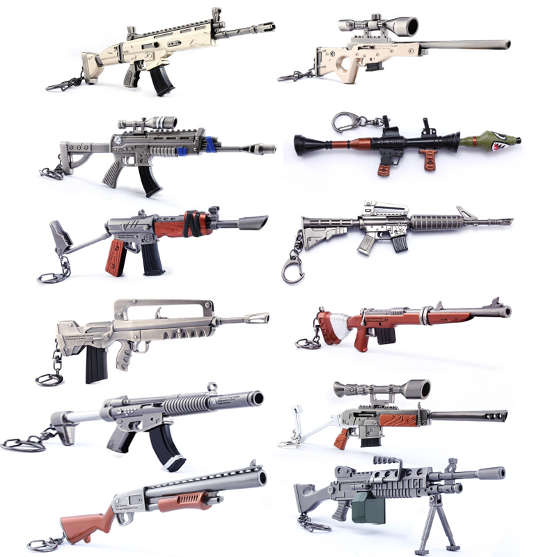 12pcs/set Fortnight Weapon Keychain Action Figure Rifle Alloy Firearms Collection Toy Battle Royale Gifts