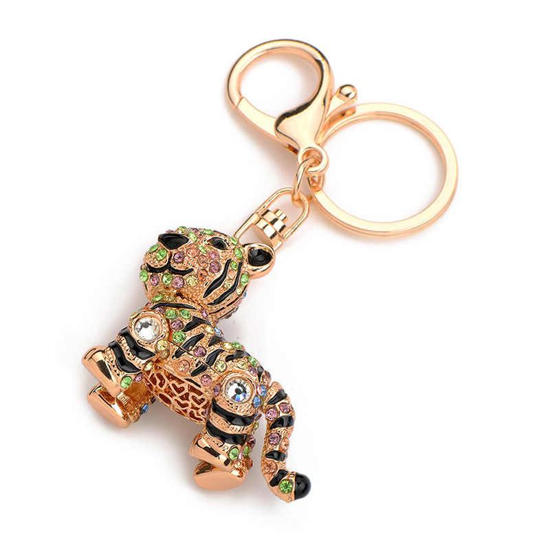 Inokeey Hợp Kim Rhinestone Men Tiger Key Chain Phụ Nữ Đàn Ông của Kim Loại Pha Lê Xe Động Vật Keyring Bag Phụ Kiện