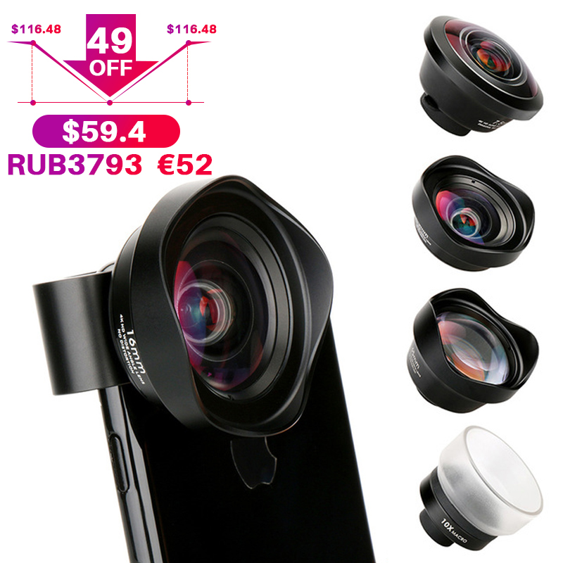 4 dans 1 appareil photo de téléphone portable Lentille Kit Grand Angle téléobjectif Macro Fisheye Lentilles pour iPhone Xs Max X 8 Huawei p20 Pro Samsung