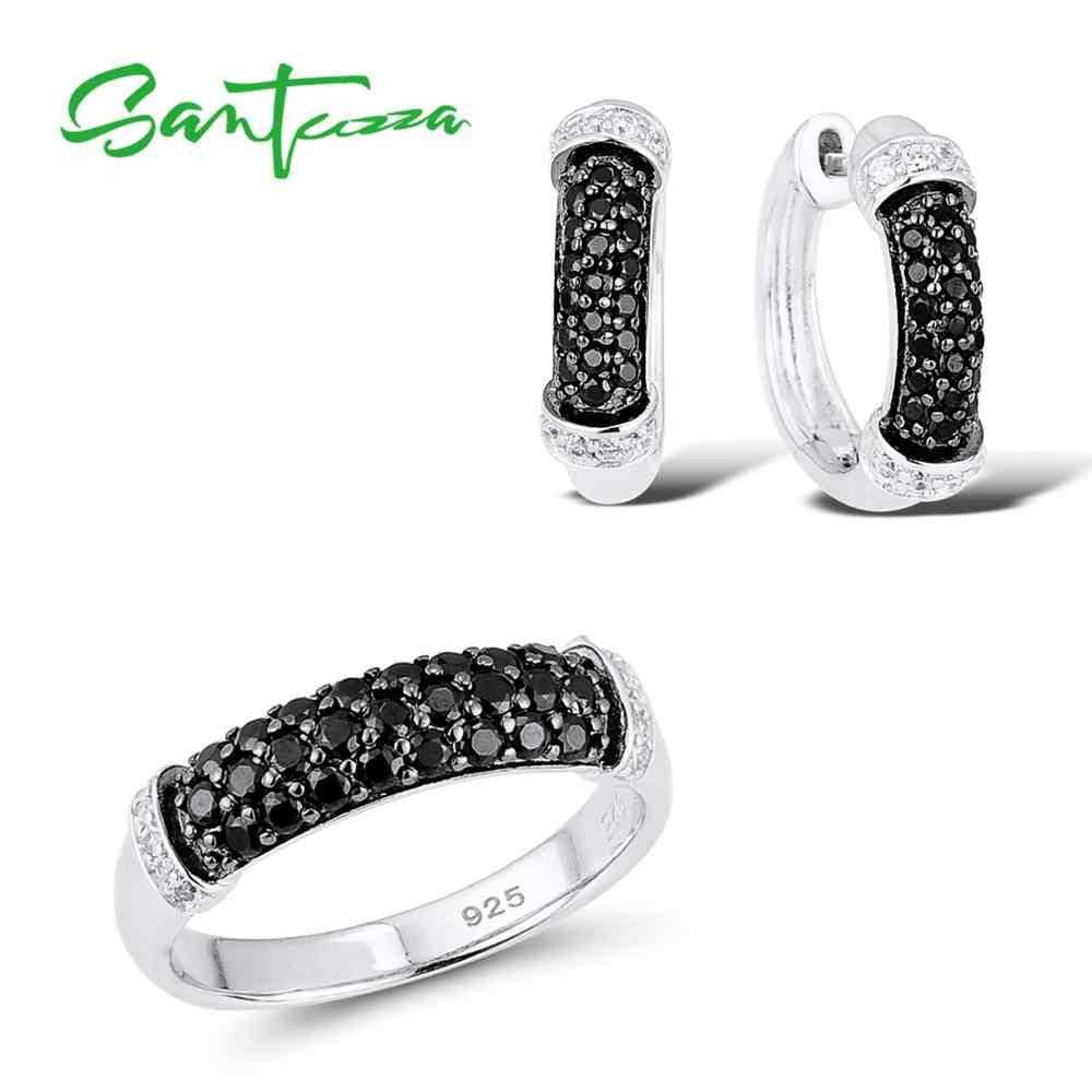 SANTUZZA งานแต่งงานชุดเครื่องประดับสำหรับสตรี 925 เงินสเตอร์ลิงสีดำ Spinels Cubic Zirconia แหวนต่างหูชุดเครื่องประดับ