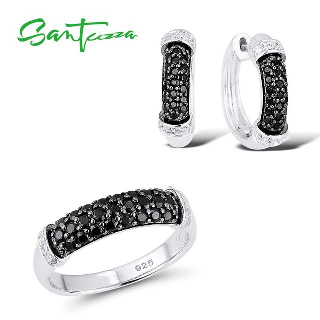 SANTUZZA Silver Jewelry Set For Women Pure 925 Sterling Silver Black Spinel Cubic Zirconia Ring Earrings Set Party Fine Jewelry
