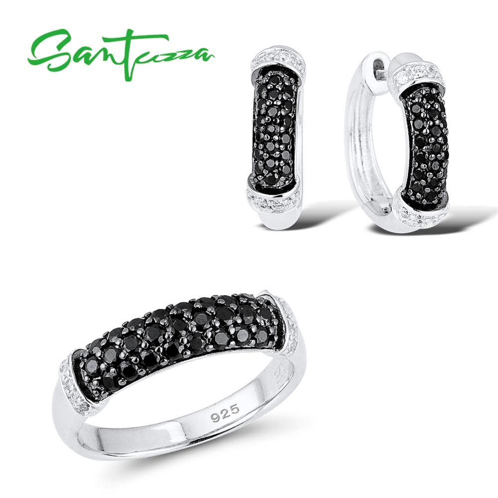 Wedding Jewelry Sets for Women Natural Stone Black Spinels Cubic Zirconia Ring Earrings Set 925 Sterling Silver Jewelry Set