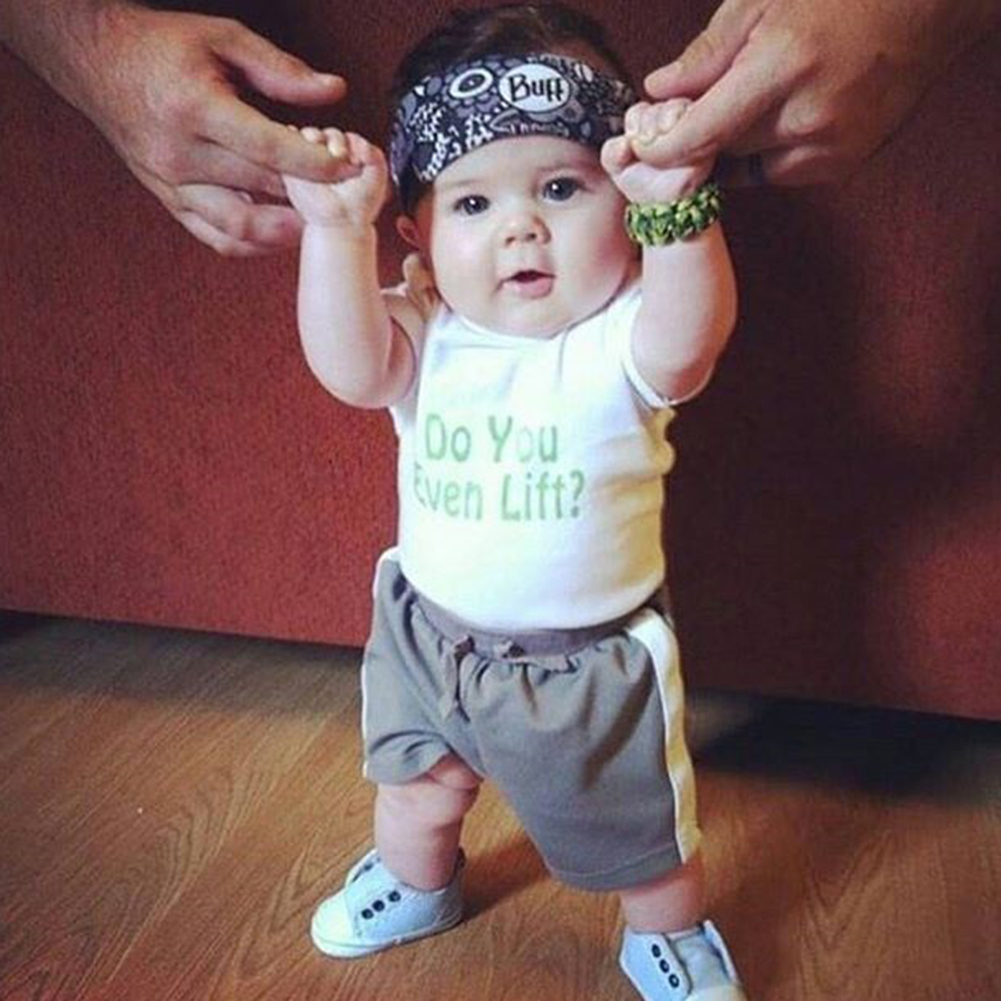 2pcs/set Baby Clothing Set Infant Baby Boys White Letter Printed Tops T-shirt + Gray Short Pants Soft Outfit Set Summer Clothes