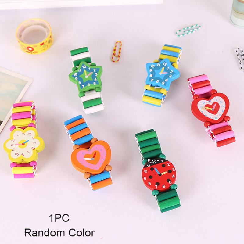 1Pc Boys Girls Children\\'S Cartoon Simulation Wooden Watch Student Stationery Gifts Crafts Bracelet Watch Toys Random Color New