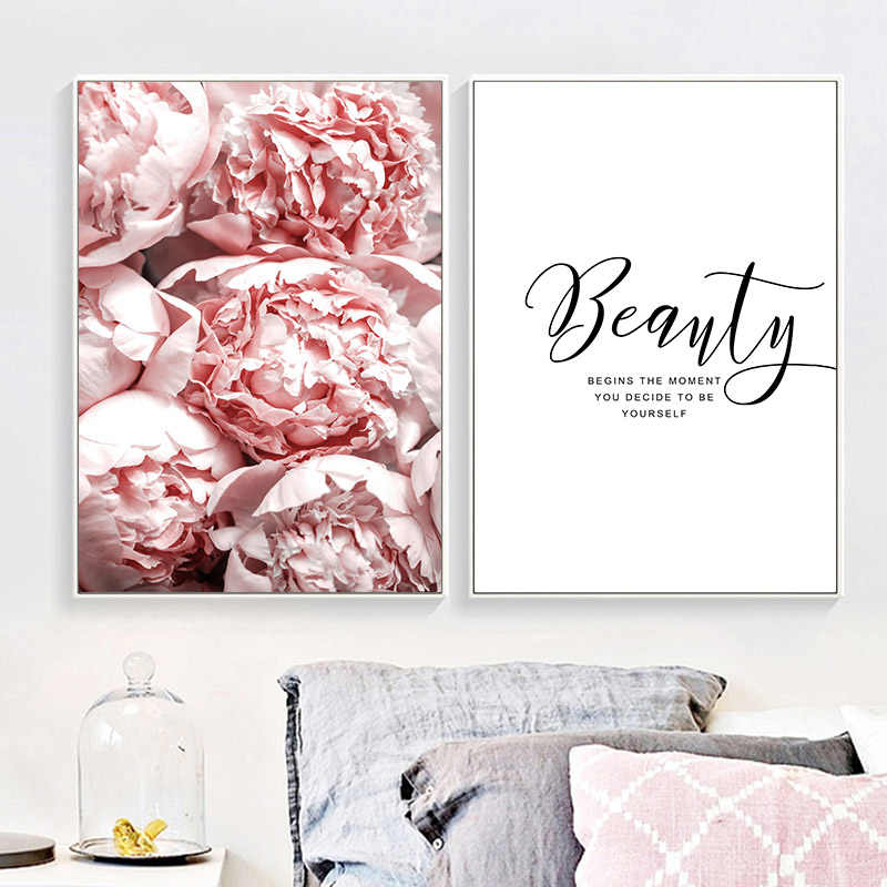Peony Flower Canvas Poster Beauty Quotes Wall Art Print Painting Nordic Style Wall Picture Living Room Scandinavian Home Decor