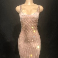 Women Sexy Skin Color Long Dress Separate Sleeves Full Of Sparkling Crystals Nightclub Party Banquet Stage Wear Costumes Dress