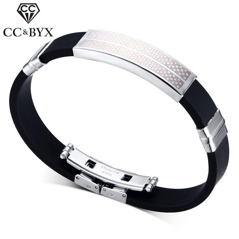 CC Trendy Mens Jewelry Bracelets For Women Titanium Silicone Lattice Lines Bracelet Stainless Steel Accessories Bijoux BS016