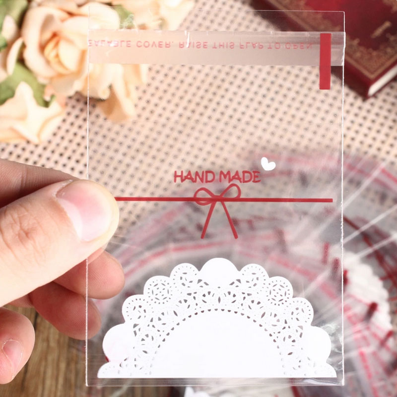 Cheap 100pcs/lot Small Candy Cookie Bag Wedding Decoration Accessories  Transparant Candy Organizer Package Bag