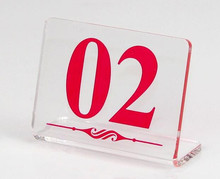 New arrival L - type Restaurant table number card clear acrylic Digital Card seat holder Hotel desk menu 5pcs/lot