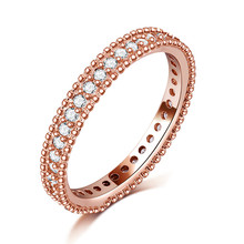 Exquisite Rose Gold color Filled Rings Wedding Jewelry Bijoux AAA Cubic zirconia Accessories Engagement Bague For