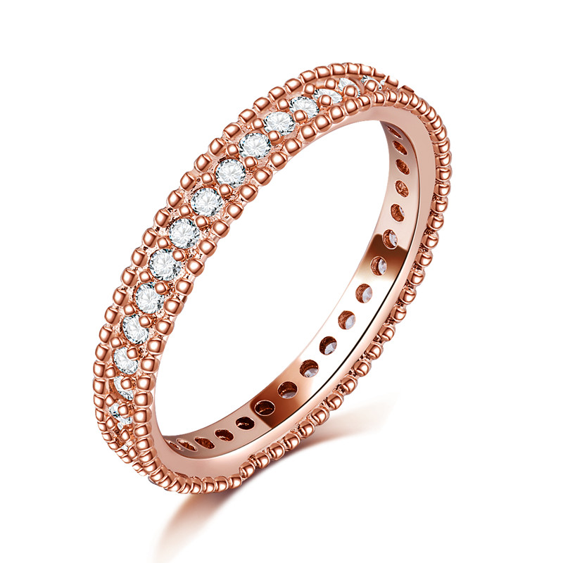 Exquisite Rose Gold color Filled Rings font b Wedding b font Jewelry Bijoux AAA Cubic zirconia