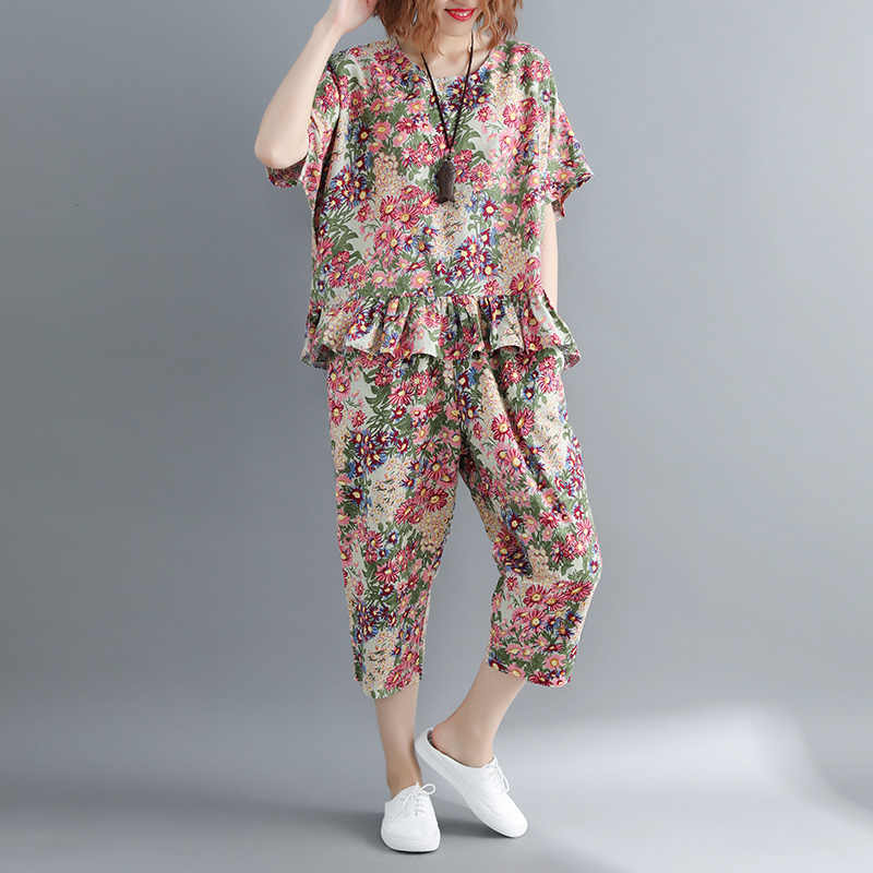 2018 summer new cotton and linen women floral t-shirts and pant fashion printed clothing suits