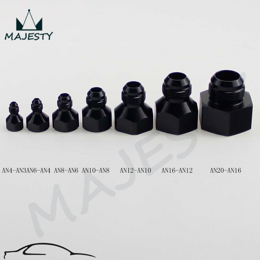 10AN AN10 Straight Reducer Adapter adaptor Fittings Black 16AN AN16 To