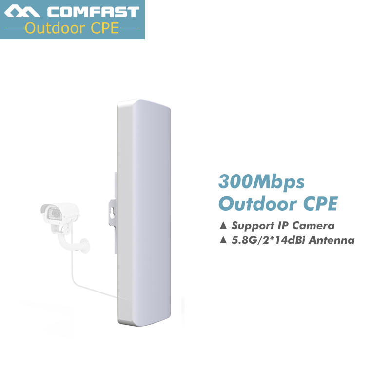 300Mbps 5.8Ghz outdoor Access Point with 2*14dBi WI-FI Antenna high power wireless bridge COMFAST CF-E312A WIFI CPE Nanostation comfast cf e214nv2 2 4g wireless outdoor router 2km wifi signal booster amplifier wds network bridge 14dbi antenna wi fi access
