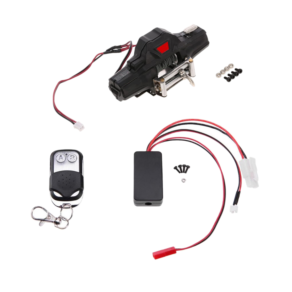1/10 RC Car Accessory Dual Motor Warn Winch w/ Remote Controller for Traxxas HSP HPI alloy motor mount for 1 10 hpi sprint 2
