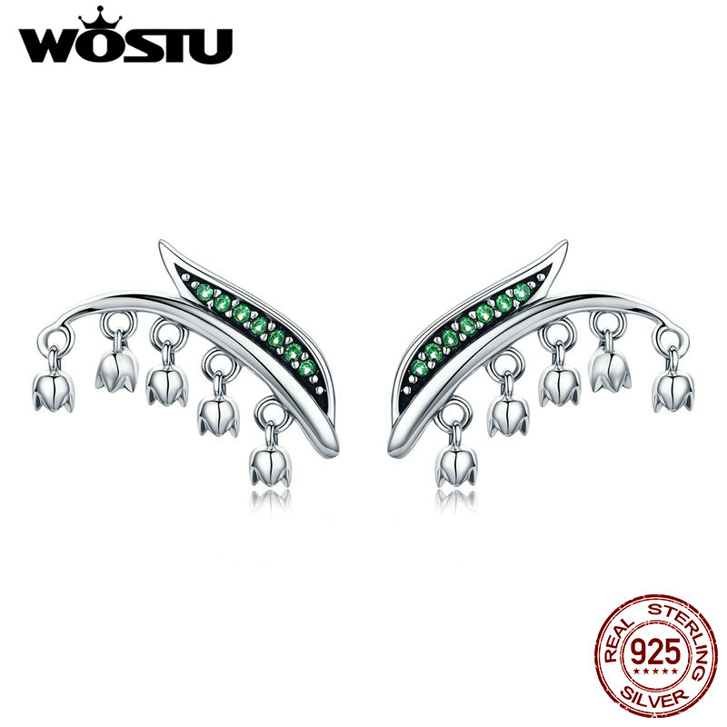 WOSTU Authentic 100% 925 Sterling Silver New Spring Leaves & Flowers Tassel Stud Earrings for Women Jewelry Brincos Gift CQE298