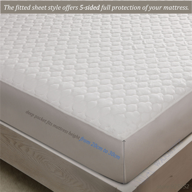 Super King Size 200x200cm 2m Bed Waterproof Beautiful Jacquard Cloth Mattress Protector Cover High Quality W008 In Covers Grippers From