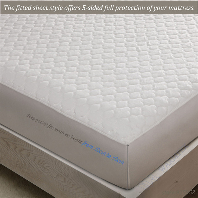 Super King Size 200x200cm 2m Bed Waterproof Beautiful Jacquard Cloth Mattress Protector Cover High Quality