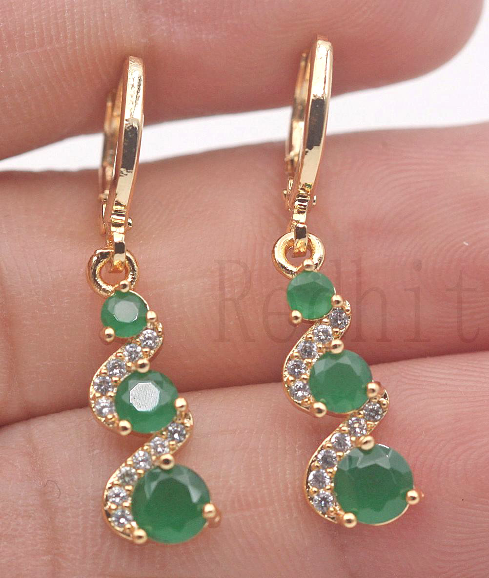 Luxury Drop Earrings for Women Gold Color Earring with Rainbow Red Green Zircon Trendy Jewelry for Party Wedding Gift