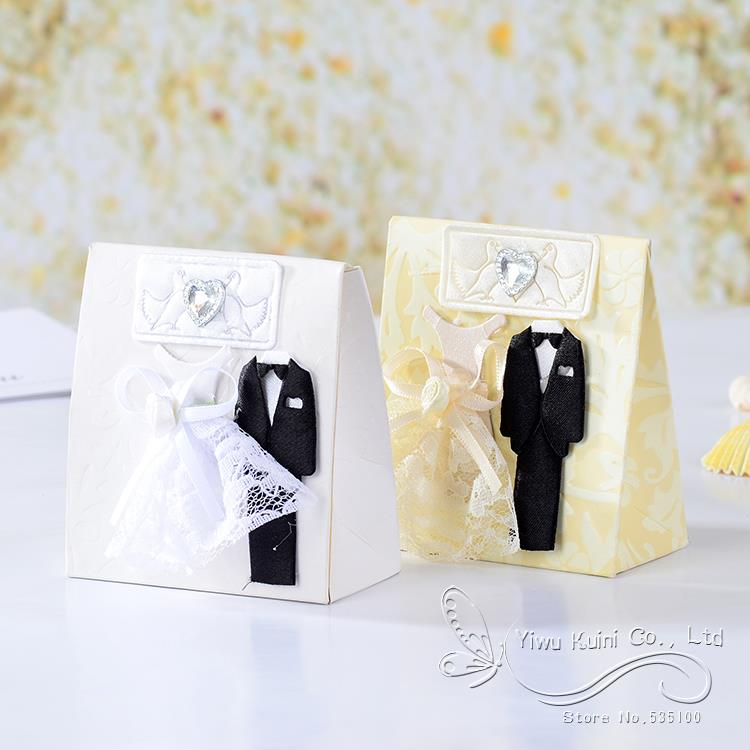 12pcs Dress Tuxedo Sweets White And Cream Candy Gift Boxes