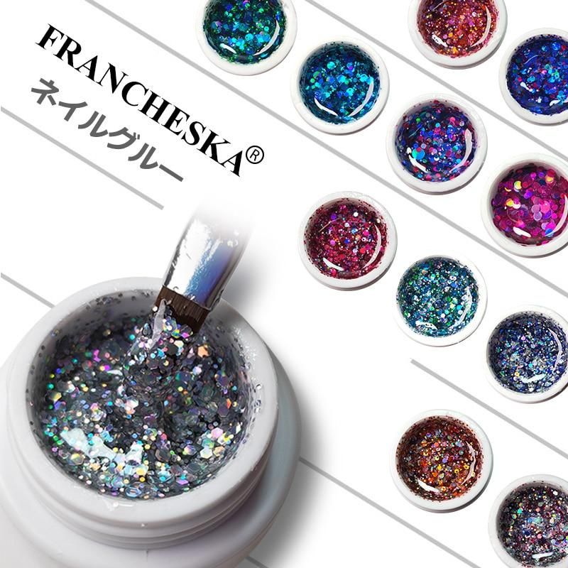 Francheska Glitter Gel Nail Polish Shiny Lakiery Hybrydowe Soak Off Bling Sequins Gel Polish Lakier Hybrydowy UV Gel Varnish