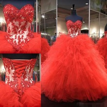Red Lace Up Ball Gown Quinceanera Dresses 2019 vestidos de 15 anos Sweetheart Appliques Floor Length Sweet 16 Prom