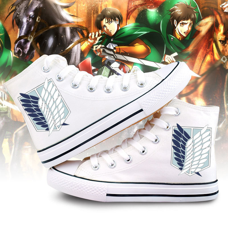 Attack On Titan cosplay Hand-painted shoes Unisex Shingeki No Kyojin High Platform Canvas Shoes Eren Jaeger Ackerman boots A5106 купить недорого в Москве