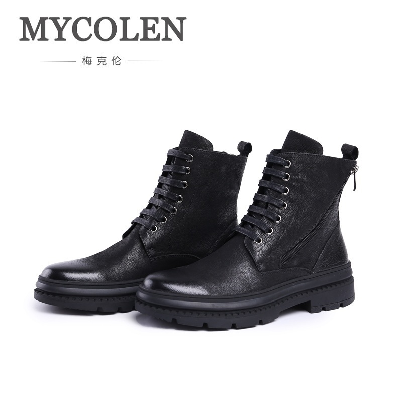 MYCOLEN 2018 Genuine Leather Men Military Ankle Boots Winter Black Army Boots Man Non-slip Rubber Shoes Zapatillas Lona Hombre