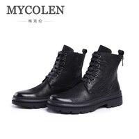 MYCOLEN 2018 Genuine Leather Men Military Ankle Boots Winter Black Army Boots Man Non slip Rubber Shoes Zapatillas Lona Hombre