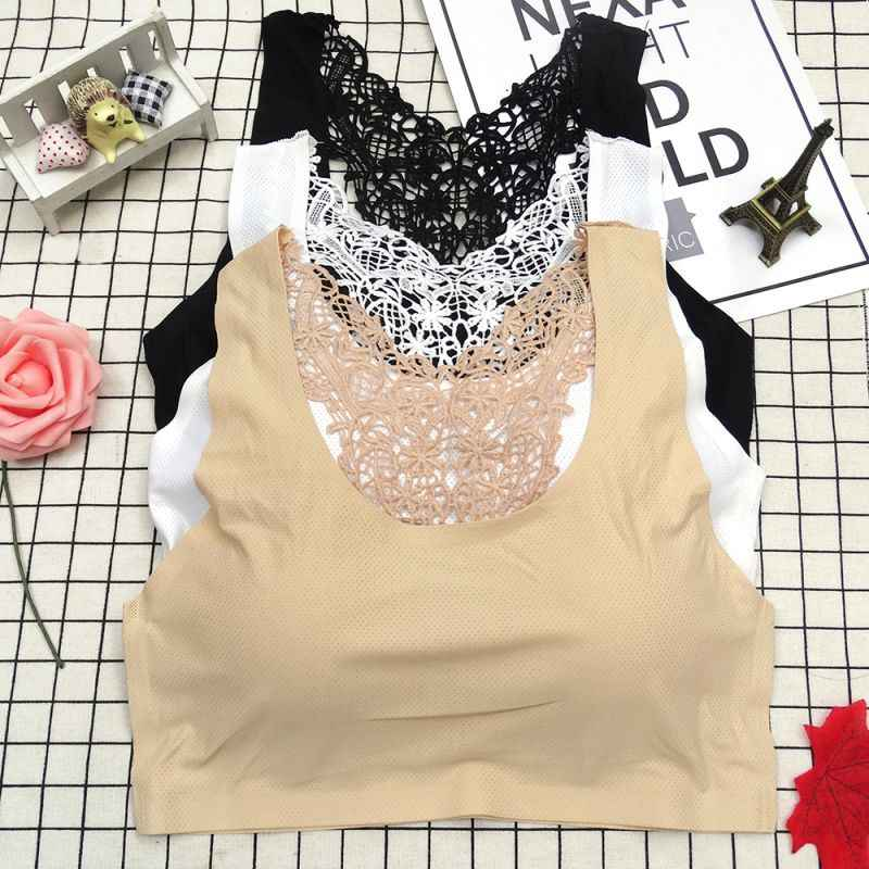 2019 Fashion Hollow Beauty  New Ice Silk  Back Padded Bottom Bra Without Steel Ring