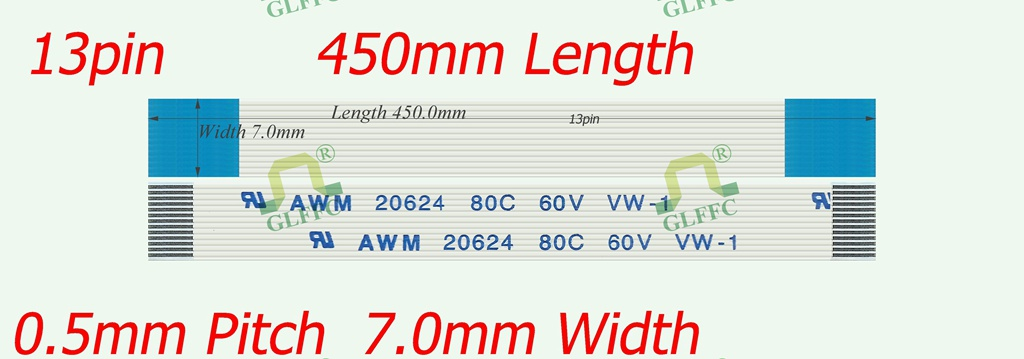 13pin-450mm-GLFFC-0.5mm-A Type Flat Flex ribbon cable awm vw-1 ROHS customization is available