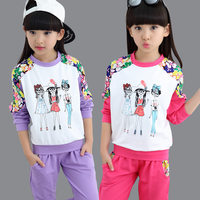 b589a39f Комплект одежды для девочек на весну-осень с цветочным рисунком детский  костюм повседневный спортивный костюм