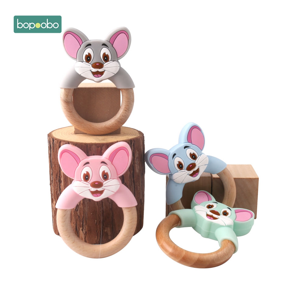 Bopoobo 10pc Wooden Teether Food Grade Mouse Shaped Baby Shower Gifts Baby Toys Children Training Chewing