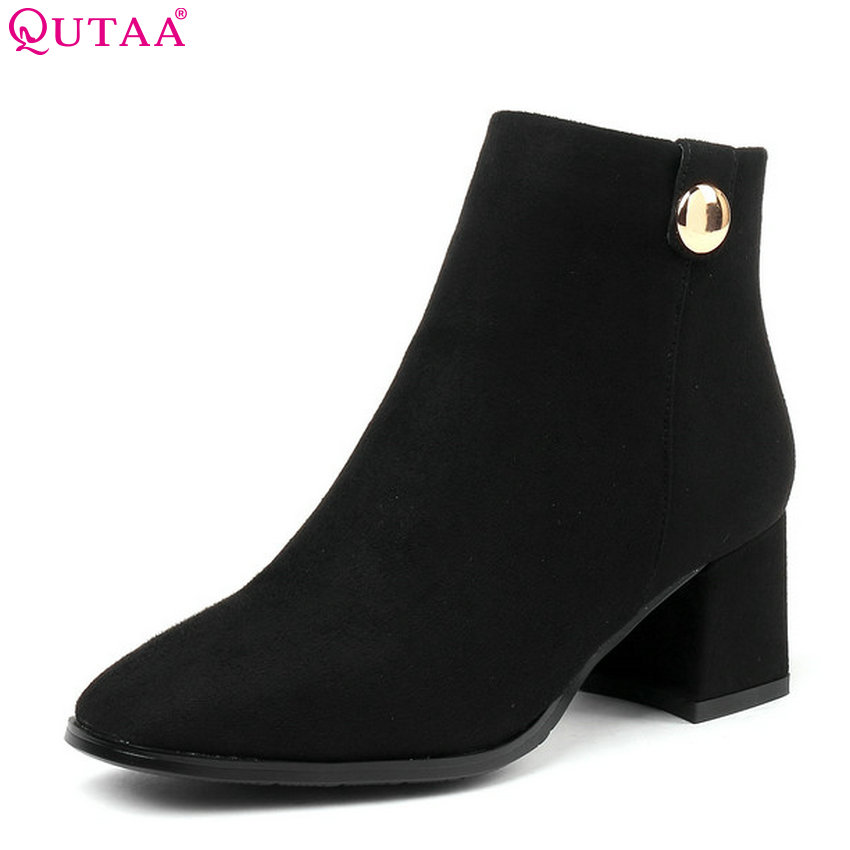 QUTAA 2019 Women Motorcycle Boots Flock Square High Heel Fashion Sexy Winter Shoes Platform Elegant Women Boots Big Size 34-43QUTAA 2019 Women Motorcycle Boots Flock Square High Heel Fashion Sexy Winter Shoes Platform Elegant Women Boots Big Size 34-43