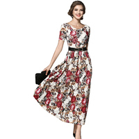 2017 New Women Flower Print Lace Dress Spring Fashion Vintage Runway Long Maxi Dress Evening Party