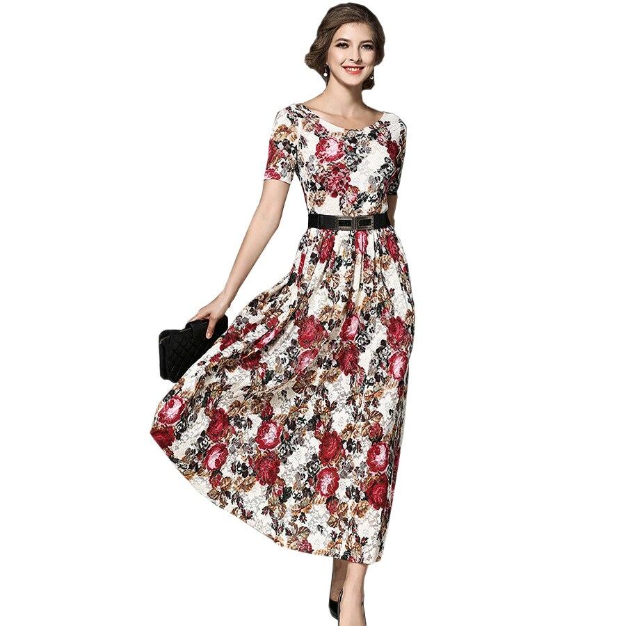 Women Flower Print Lace Dress 2017 New Autumn Fashion Vintage Runway Long Maxi Dress Evening