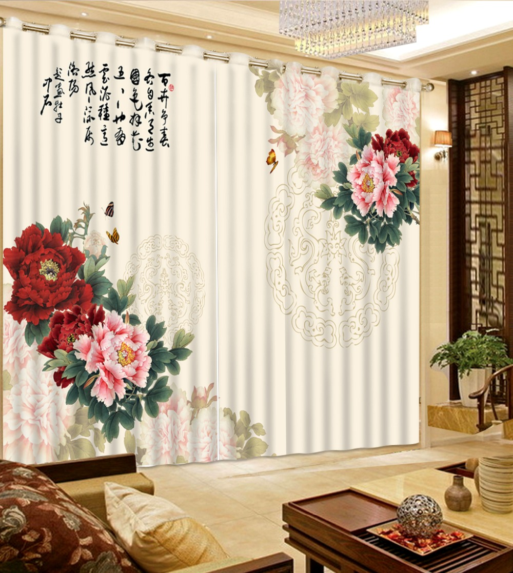 Us 61 65 55 Off Print 3d Blackout Curtains For Living Room Bedding Room Drapes Cotinas Para Sala Pattern Peony 3d Curtains In Curtains From Home