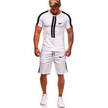 Men Sport Running Suits Basketball Soccer Training T Shirts + Pants Tracksuits Jersey Summer Fitness Sportswear Gym Sets 2019(China)