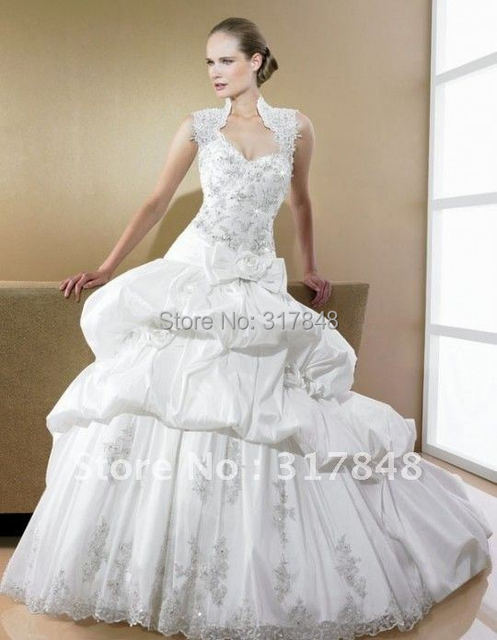 Stunning style free shipping custom made high nekcline applique flowers beaded draped train gown bridal wedding dresses WD199