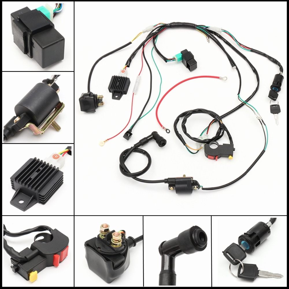 Fit for 50cc 110cc 125cc PIT Quad Wire Harness Assembly Wiring Set Dirt Bike ATV Dune Buggy