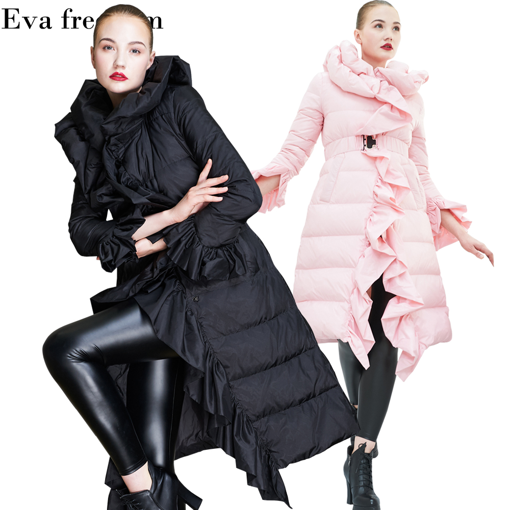 2018 European High-end Fashion Quality Lady   Down   jackets Release Temperament ruffles long loose women   down     coat   for women EF1838