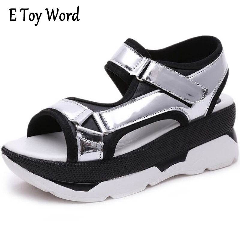 E TOY WORD Creepers Summer Platform Gladiator Sandals White Silver Shoes Woman Slip On Flats Casual Women Shoes 2 Colors XWZ3815 phyanic gold silver wedges sandals 2017 new platform casual shoes woman summer buckle creepers bling flats shoes phy4040