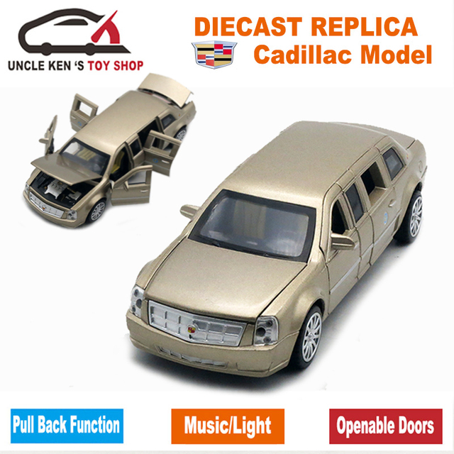 18CM Diecast Cadillac Presidential Limousine Scale Model, Metal Toys Car Collection For Kids With 6 Openable Doors